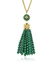 Tory Gold Brass and Resin Beaded Tassel Long Necklace - Tory Burch