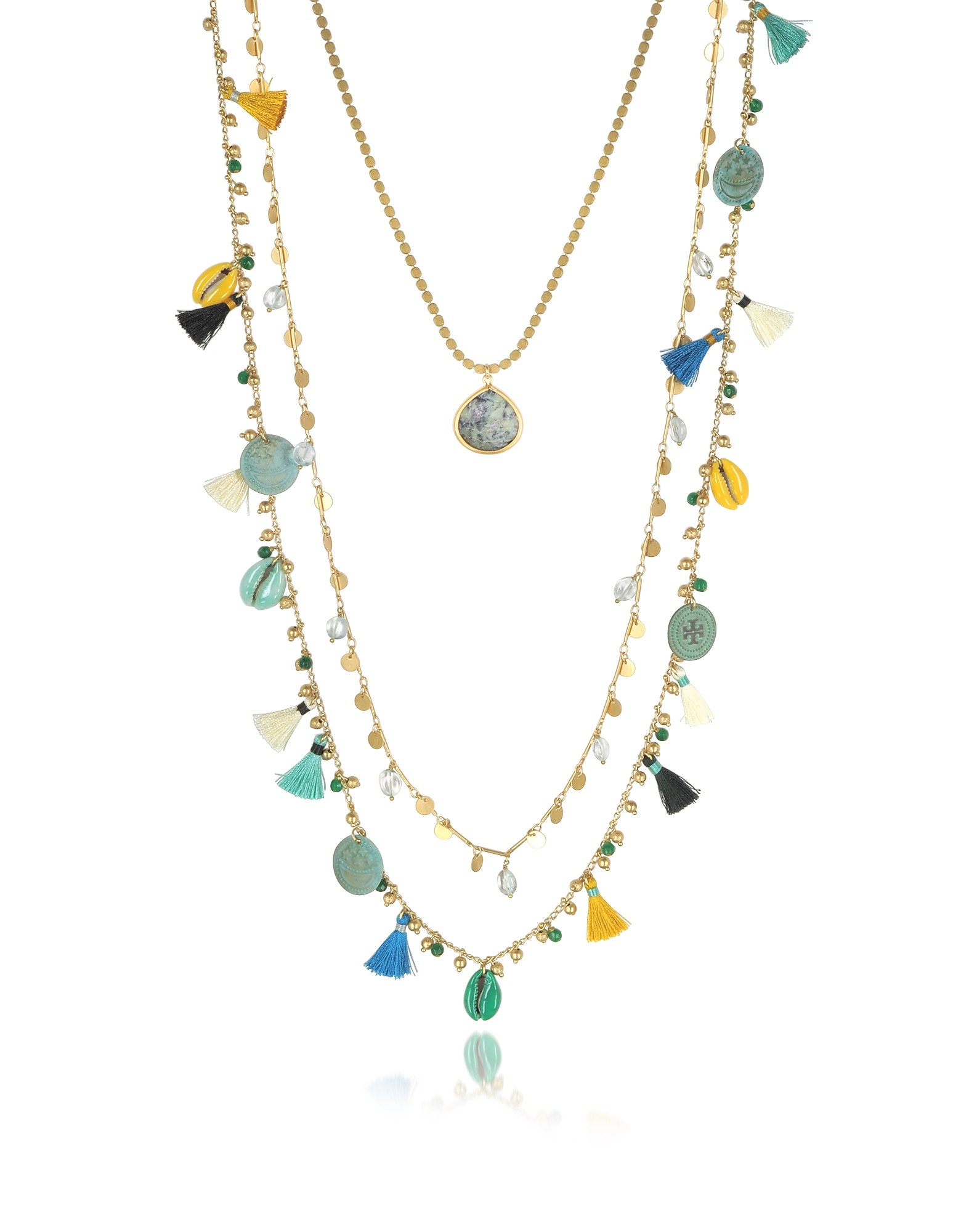 Tory Burch Necklaces, Blue and vintage Gold Coin and Tassels Multi-layering Necklace