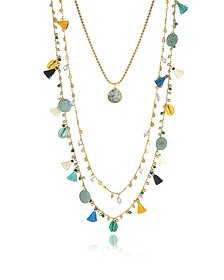 Blue and vintage Gold Coin and Tassels Multi-layering Necklace - Tory Burch