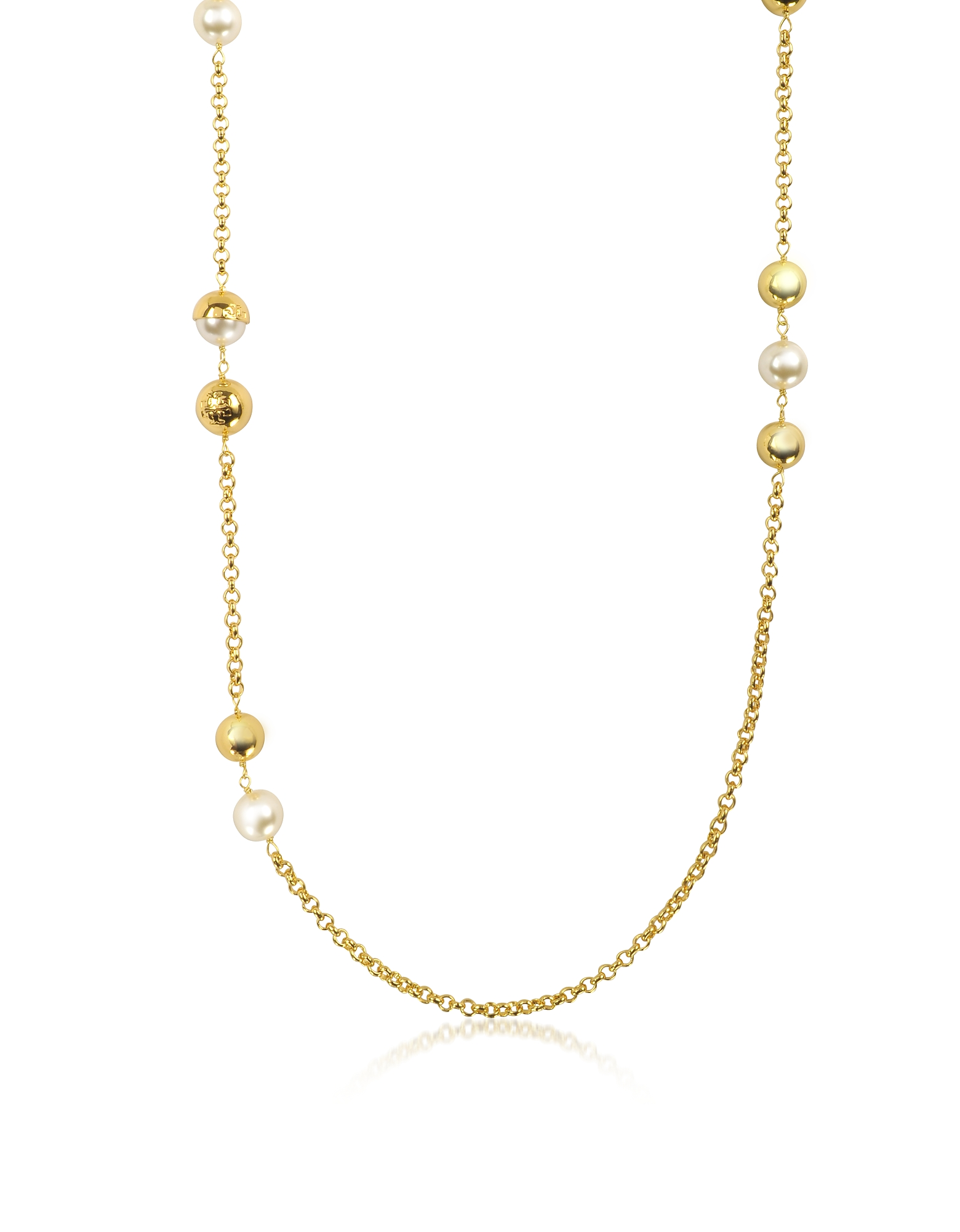 Tory Burch Necklaces, Capped Crystal Pearl Chain Rosary Necklace