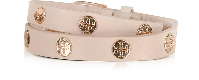 Light Oak Double Wrap Stud Logo Bracelet - Tory Burch