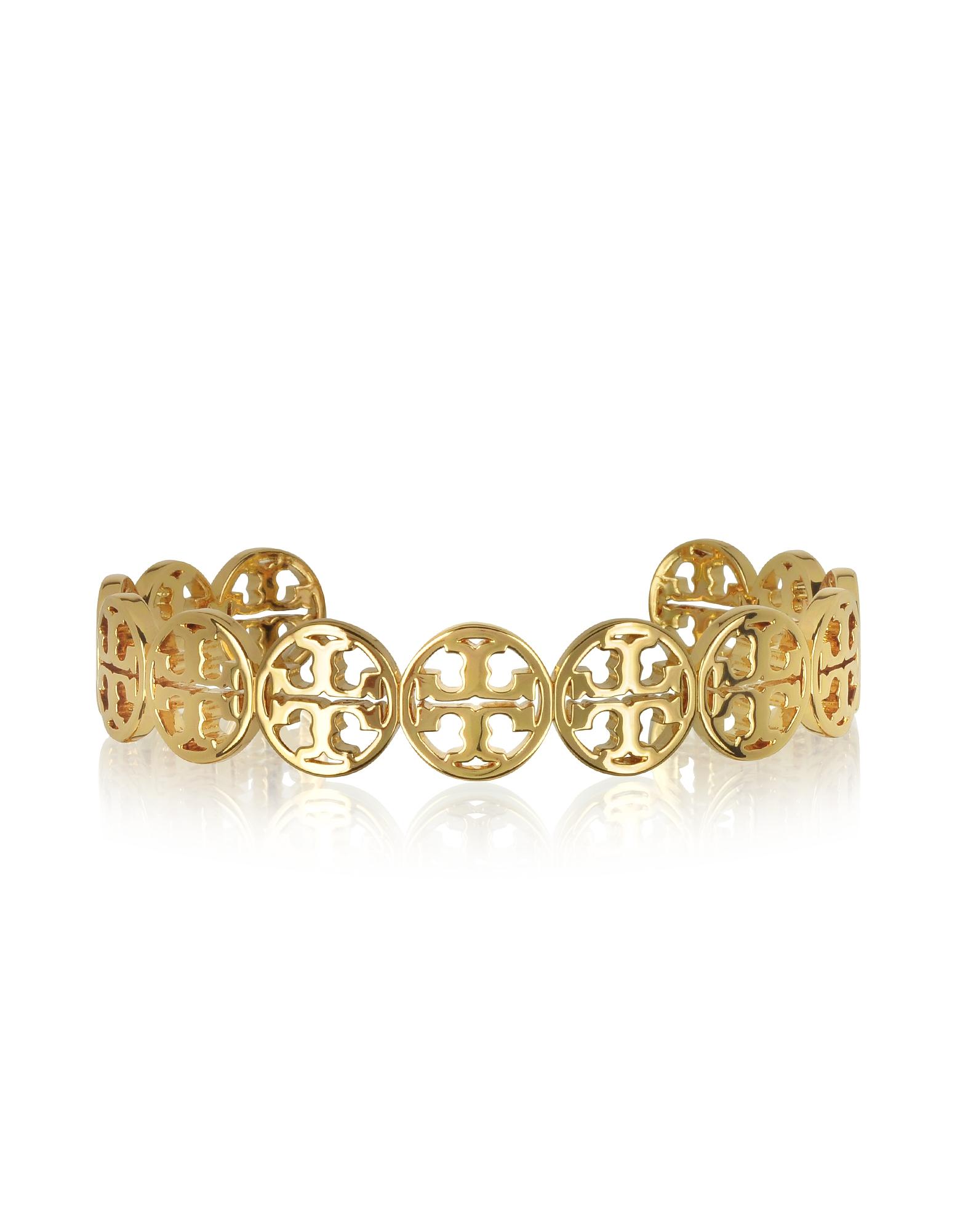 Tory Burch Bracelets, Goldtone Logo Cuff Bracelet