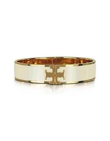 Raised Logo New Ivory Enamel Thin Cuff Bracelet