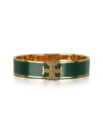 Raised Logo Banyan Green Enamel Thin Cuff Bracelet