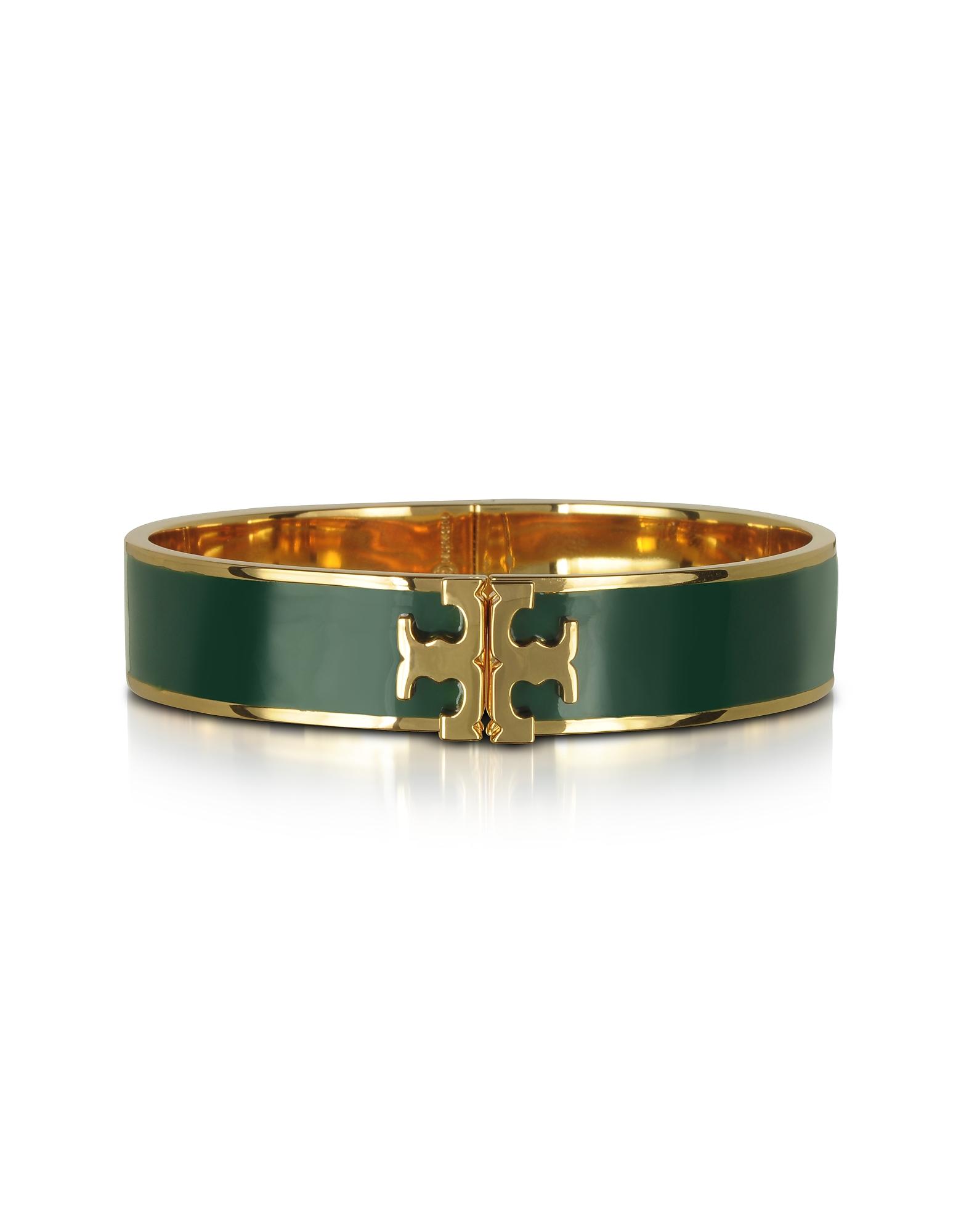 Tory Burch Bracelets, Raised Logo Banyan Green Enamel Thin Cuff Bracelet