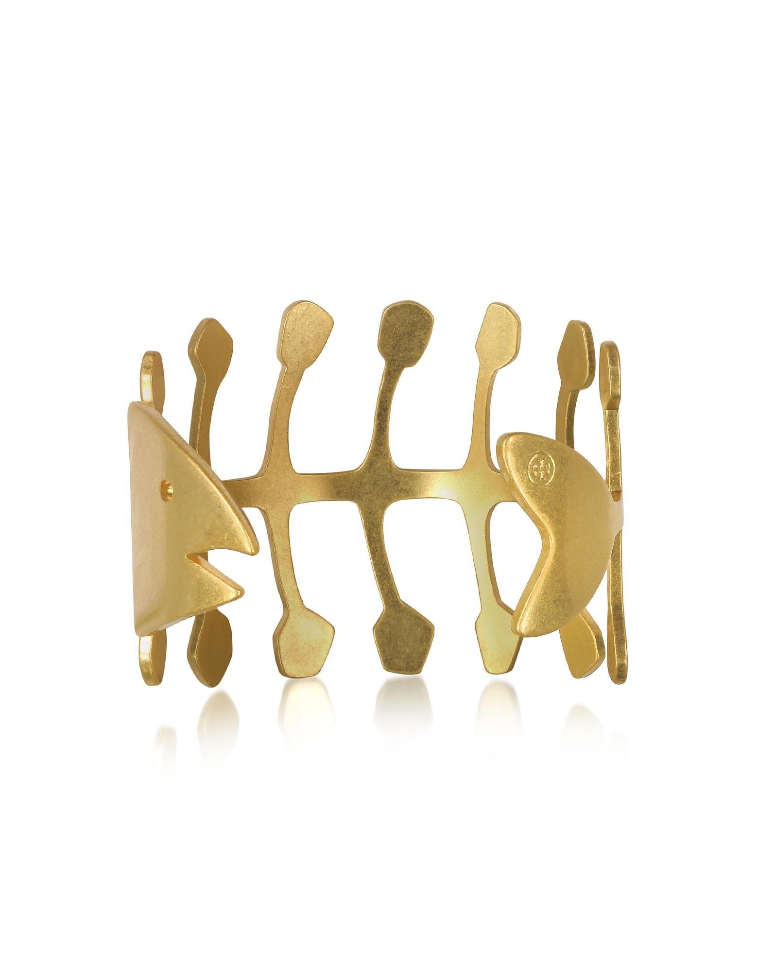 Fish Bone - Золотистый Винтажный Браслет из Меди в Форме Рыбьего Скелета