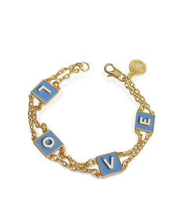 Sunny Blue/New Ivory Enamel and Vintage Gold Brass Message Chain Bracelet