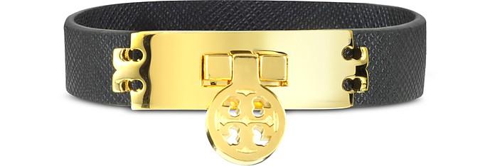 Turn-Lock Black Leather Bracelet - Tory Burch