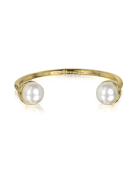 Foto Tory Burch Bangle in Metallo Dorato con Perle Braccialetti