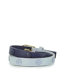 Luna/Royal Navy Color-Block Double Wrap Logo Stud Bracelet - Tory Burch