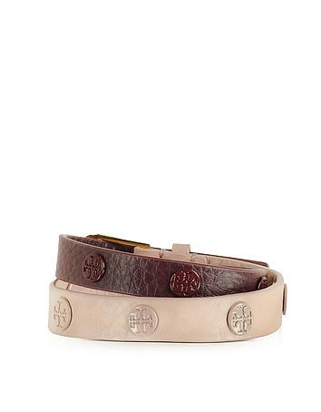Tory Burch - Clay Pink/Port Color-Block Double Wrap Logo Stud Bracelet