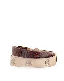 Clay Pink/Port Color-Block Double Wrap Armband mit Nieten - Tory Burch