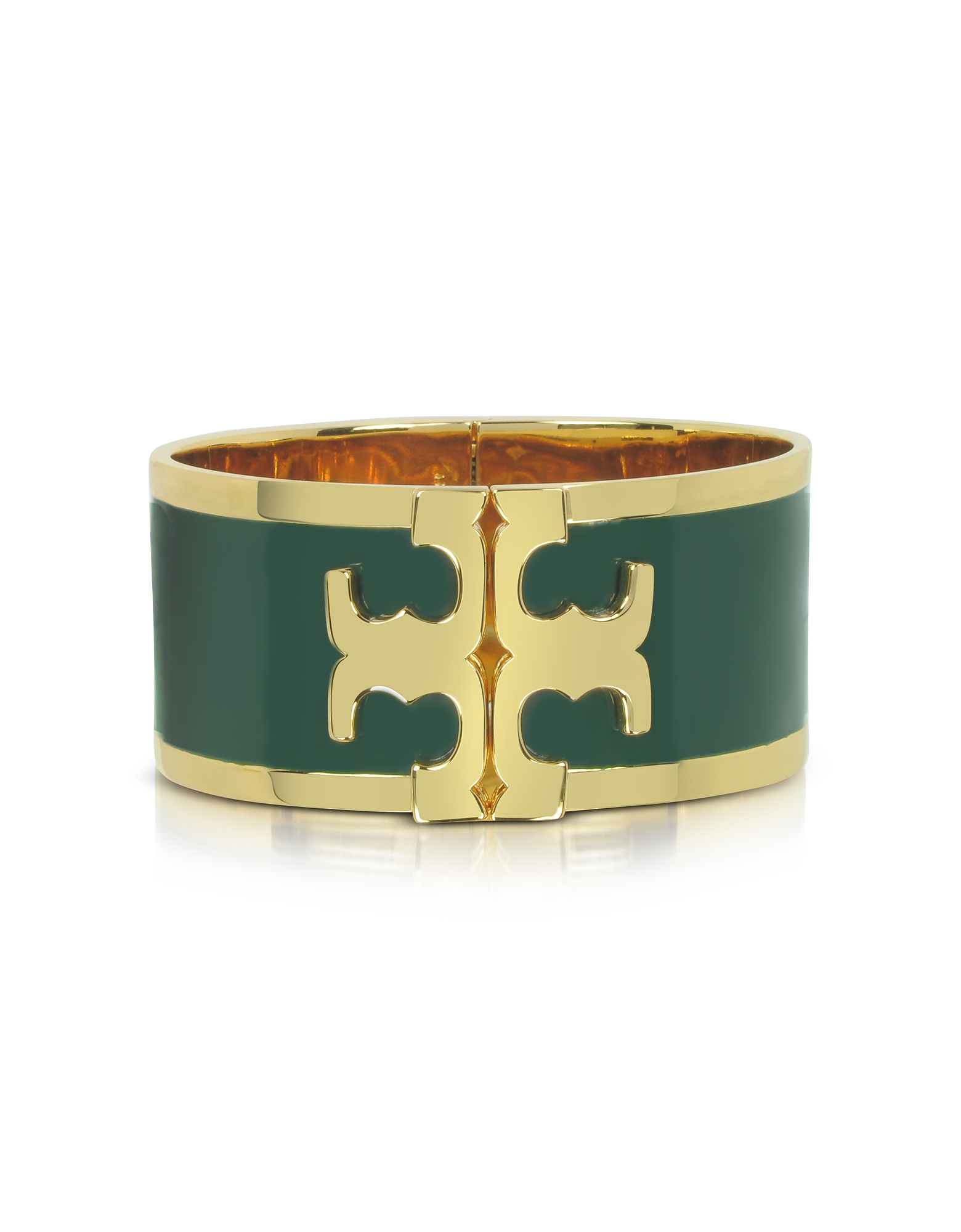 Tory Burch Bracelets, Tory Gold Brass and Banyan Green Enamel Raised Logo Wide Cuff Bracelet