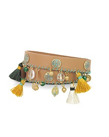 Aged Vachetta Leather and Vintage Gold Brass Tassel Double Wrap Bracelet - Tory Burch