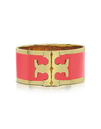 Tory Gold Brass and Red Volcano Enamel Raised Logo Wide Cuff Bracelet