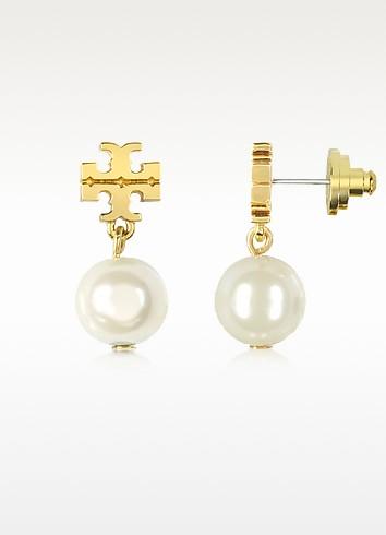 Logo Gold Tone Pearl Drop Earring - Tory Burch