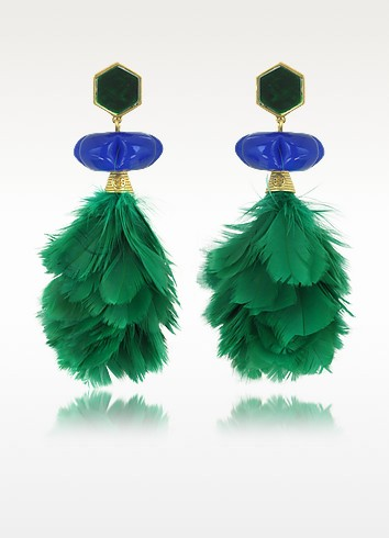 Tropical Creature Emerald Green Feather Drop Clip-On Earrings - Tory Burch