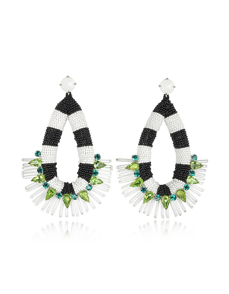 Tory Burch Black and White Beaded Teardrop Earrings