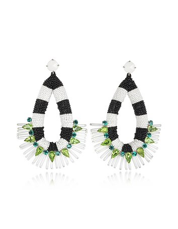 Tory Burch - Black and White Beaded Teardrop Earrings
