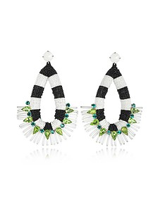 Black and White Beaded Teardrop Earrings - Tory Burch