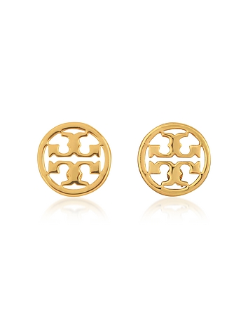 Logo Circle-Stud Shiny Goldtone Earrings