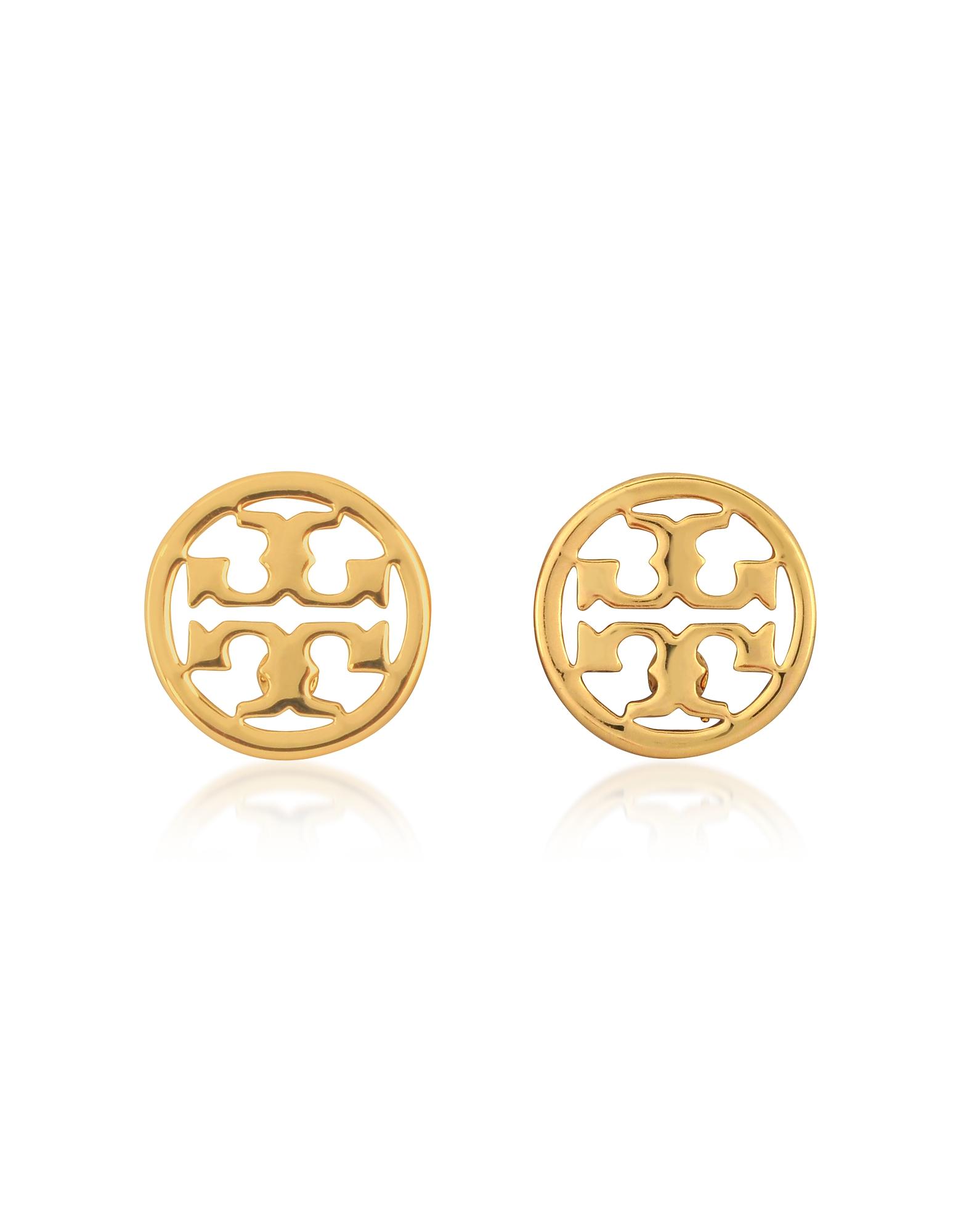 Сверкающие Золотистые Серьги Гвоздики с Логотипами