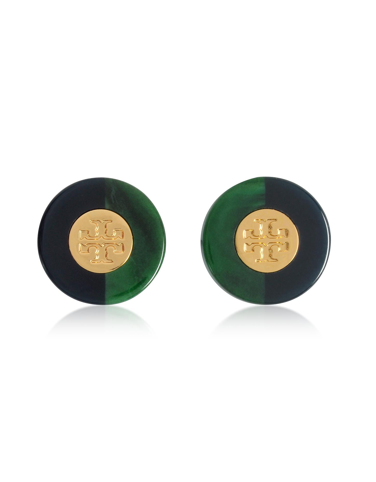 Серьги Гвоздики с Цветными Блоками из Смолы и Золотистым Логотипом