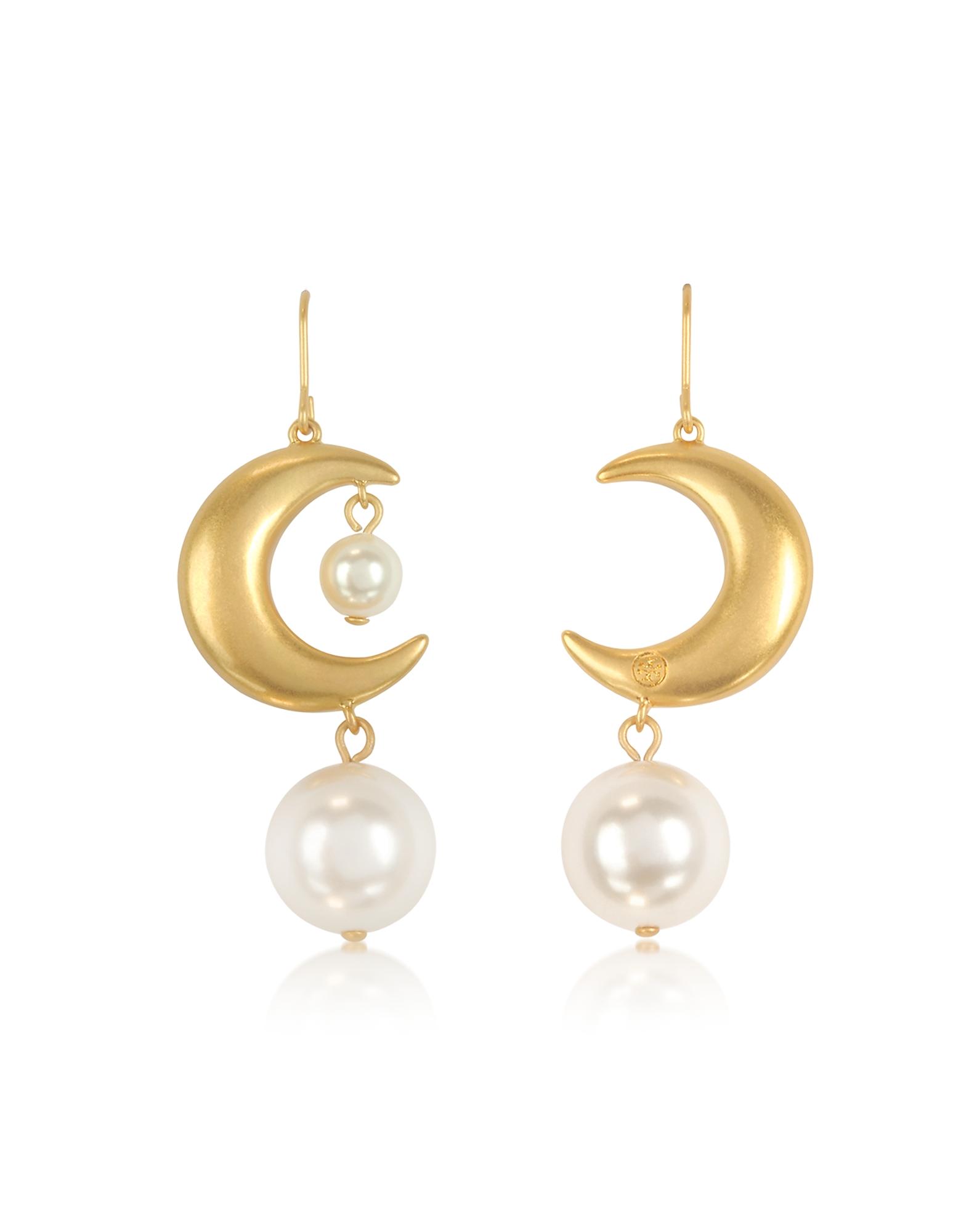 Rolled Brass Celestial Pearl Earrings