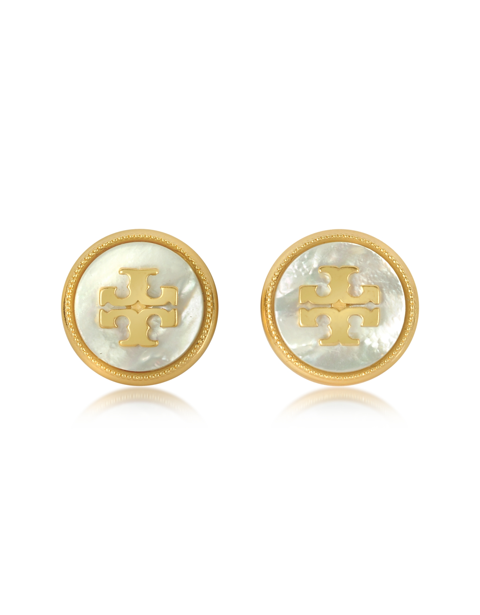 Mother of Pearl and Vintage Goldtone Brass Stud Earrings