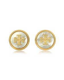 Mother of Pearl and Vintage Goldtone Brass Stud Earrings - Tory Burch