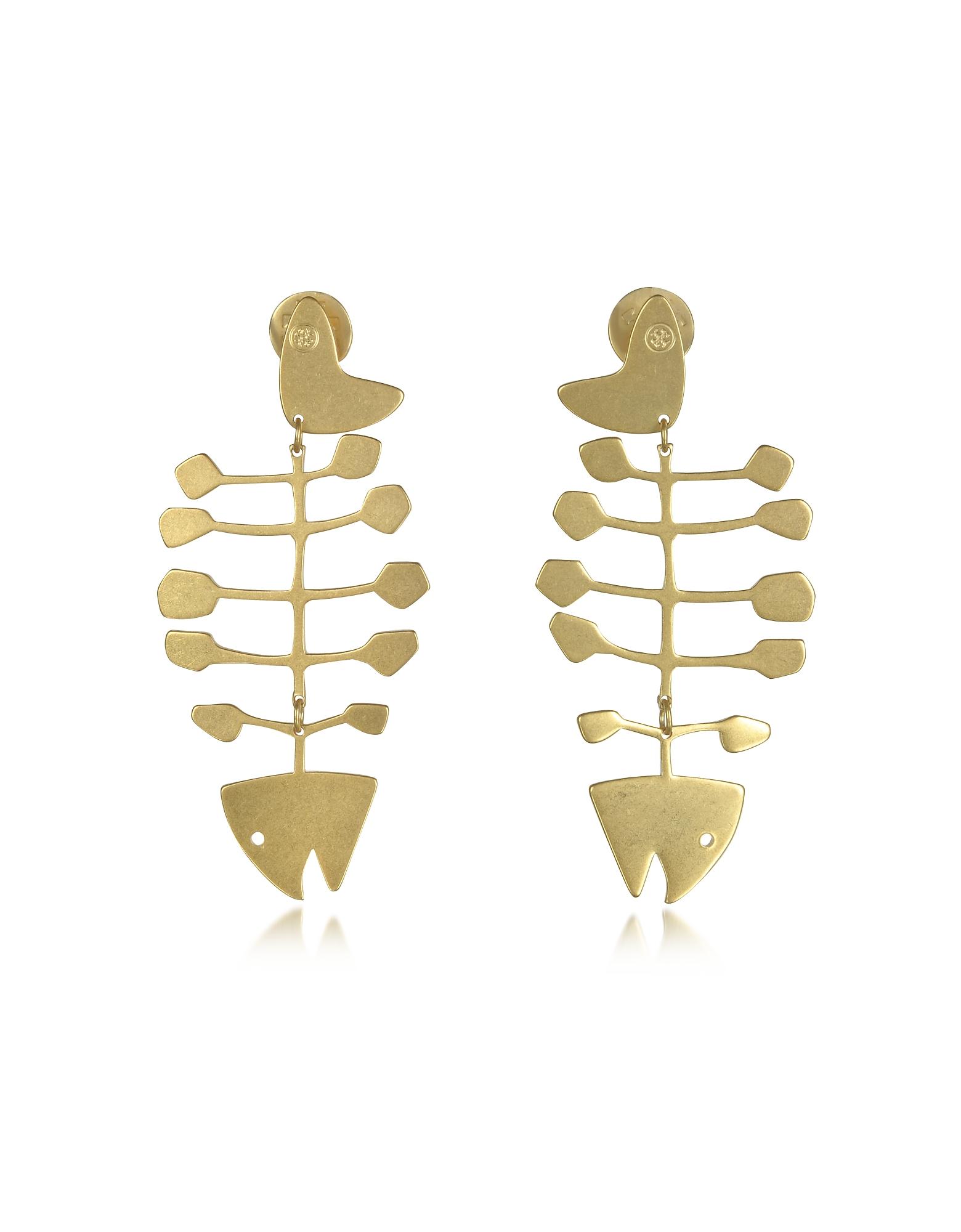 Tory Burch Винтажные Золотистые Серьги из Меди в Форме Рыбьего Скелета