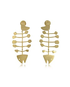 Fish Bone Vintage Goldtone Brass Earrings - Tory Burch