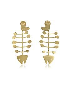 Fish Bone Vintage Ohrringe aus golfarbenem Brass - Tory Burch