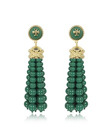 Tory Gold Brass and Resin Beaded Tassel Drop Earrings - Tory Burch