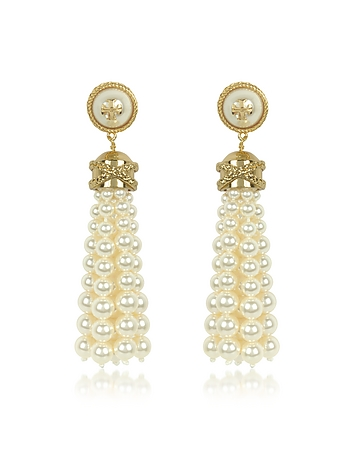 Tory Burch - Tory Gold Brass and Resin Beaded Tassel Drop Earrings