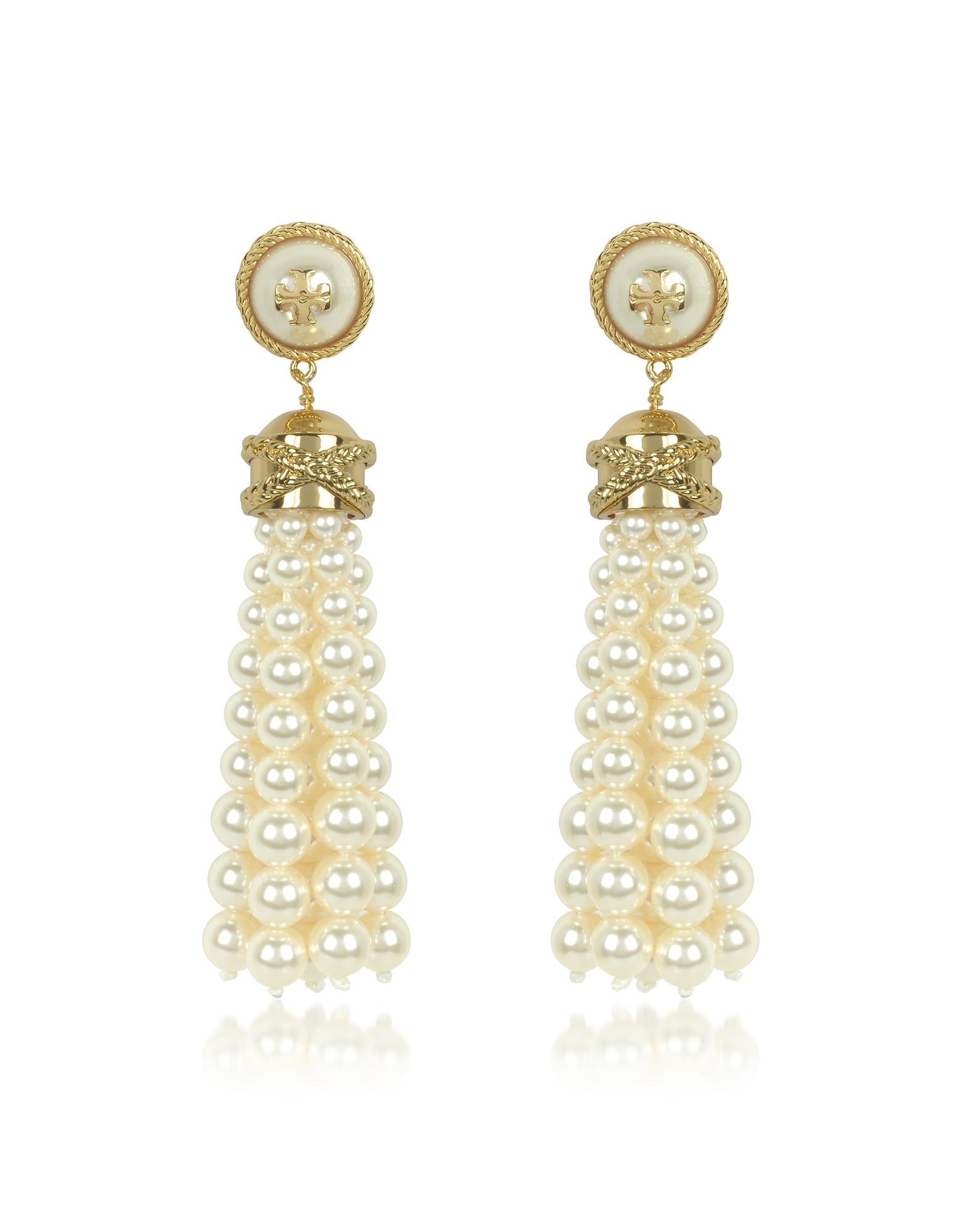 Tory Burch Earrings, Tory Gold Brass and Resin Beaded Tassel Drop Earrings