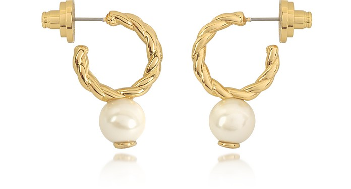 Ivory and Tory Gold Small Rope Pearl Hoop Earrings - Tory Burch
