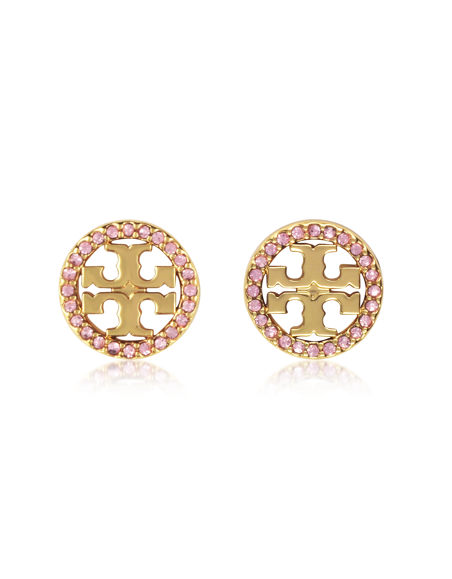 Crystal Logo Circle-Stud Earrings