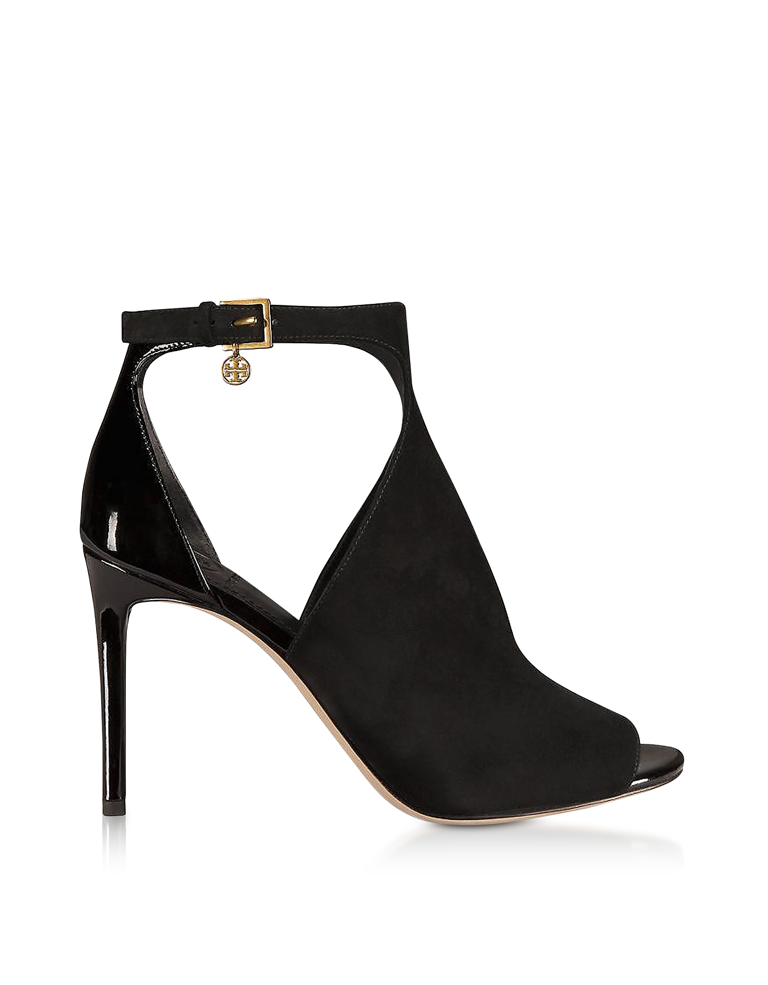 Tory Burch Designer Shoes, Ashton Bootie Black Suede and Patent Leather Sandals