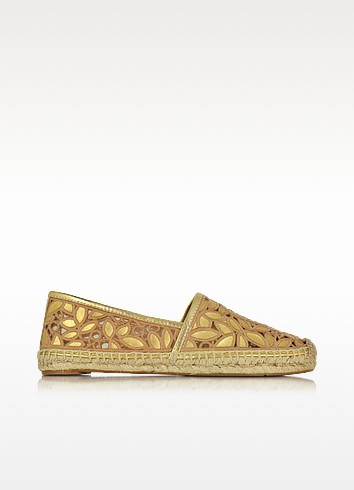 Rhea Gold Metallic Leather Embroidered Espadrille - Tory Burch