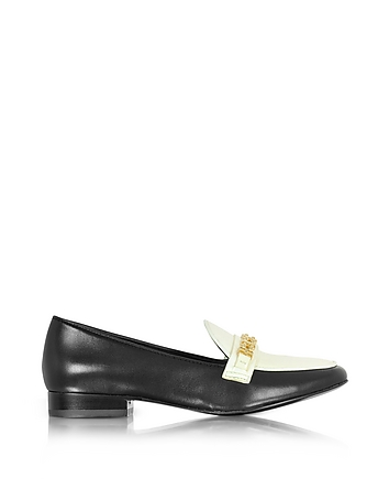 Tory Burch - Gemini Link Black Leather and Bleach Patent Leather Loafer Shoe