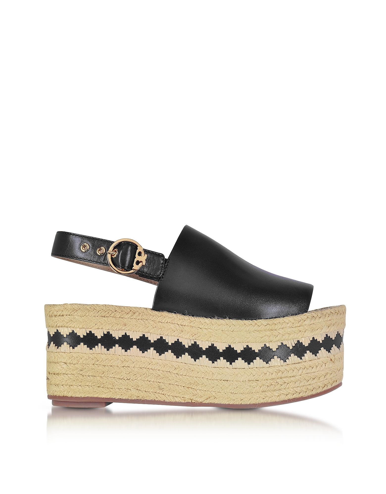 Tory Burch Shoes, Dandy Black Veg Leather Wedge Espadrille Sandal