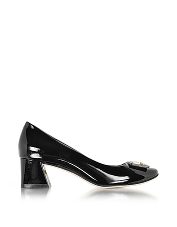 Gigi Black Soft Patent Leather Mid-Heel Pump
