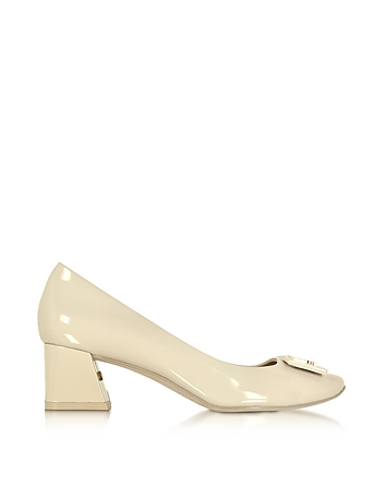 Tory Burch - Gigi Dulce de Leche Soft Patent Leather Mid-Heel Pump