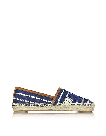 Tory Burch - Shaw Navy Sea and Royal Tan Cotton Espadrille