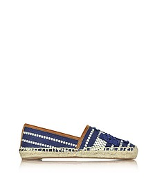 Shaw Navy Sea and Royal Tan Cotton Espadrille - Tory Burch