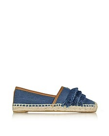 Shaw Fringe Denim Blue Espadrille - Tory Burch