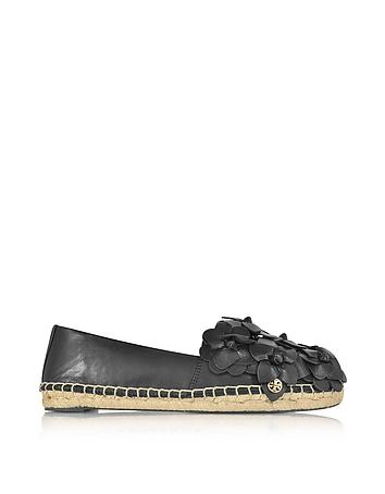 Blossom Black Nappa Leather Espadrille
