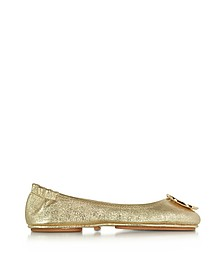 Minnie Travel Spark Gold Smooth Metallic Leather Ballet Flat - Tory Burch
