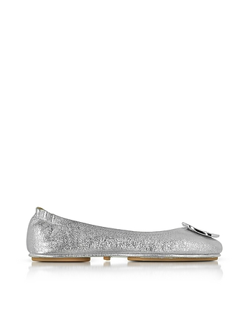 Tory Burch - Minnie Travel Silver Smooth Metallic Leather Ballet Flat